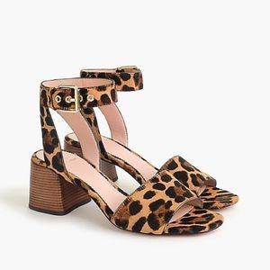 Jcrew Penny ankle-strap sandals leopard calf hair